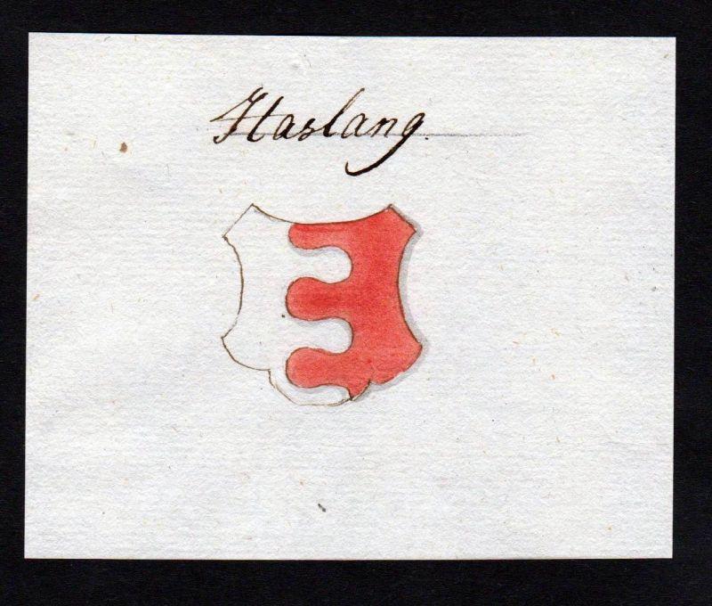 18. Jh. Haslang Adel Handschrift Wappen Manuskript manuscript coat of arms
