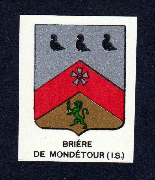 Ca.1880 Briere de Mondetour Wappen Adel coat of arms heraldry Lithographi 146271