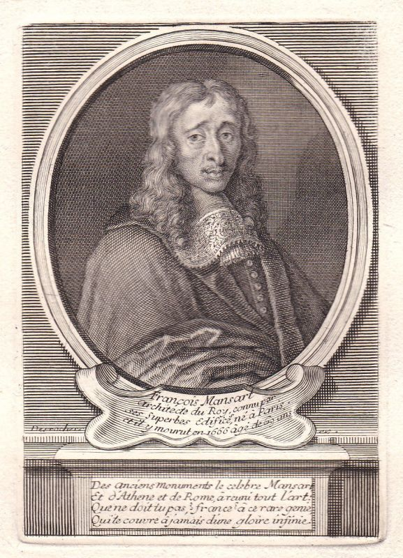 17. Jh. Francois Mansart architecte Paris gravure Portrait antique print