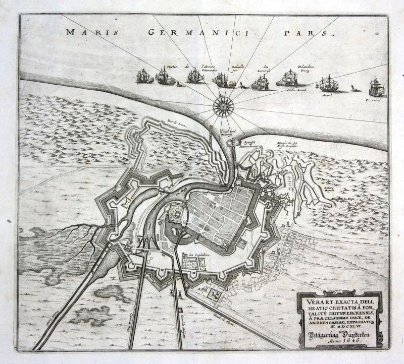 1650 Dunkerque carte gravure siege Karte Plan Kupferstich antique print Merian