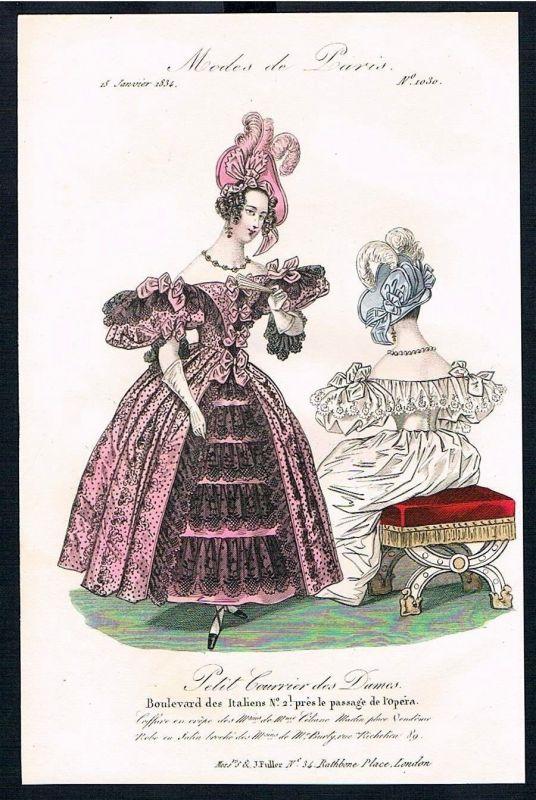 1833  Biedermeier Mode Kupferstich victorian fashion antique print Paris e 61703