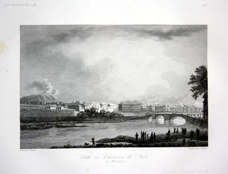 Ca. 1840 Nice ville chateau Ansicht vue estampe Stahlstich antique print