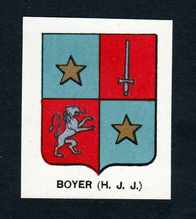 Ca. 1880 Boyer Wappen Adel coat of arms heraldry Lithographie antique pri 146081