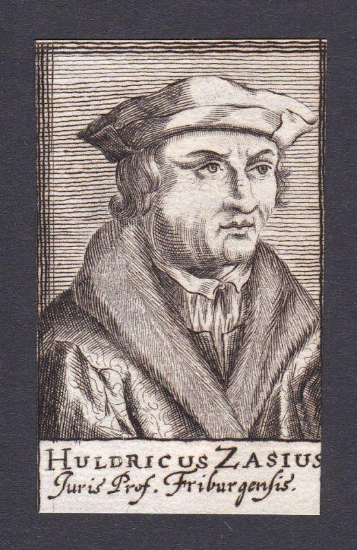 17. Jh. Ulrich Zasius / lawyer Jurist Freiburg Portrait Kupferstich
