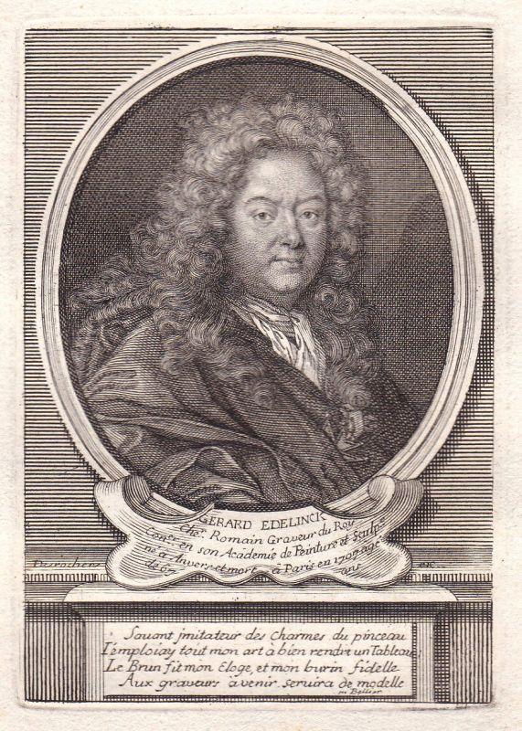 17. Jh. Gerard Edelinck peintre graveur Paris gravure Portrait antique print
