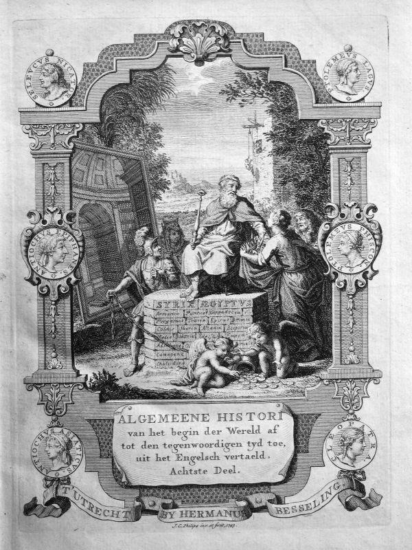 1743 Titelblatt Titel title page Syria Egypt Kupferstich Atlas Africa Philips