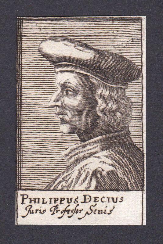 17. Jh. Filippo Decio / lawyer Jurist Siena Portrait Kupferstich