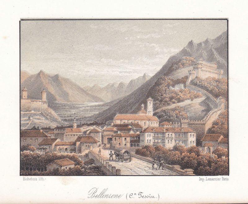 Bellinzona Kanton Tessin Schweiz Suisse Ansicht vue 1840 Cuvillier Lithographie