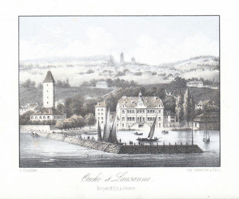Sous-Gare Ouchy Lausanne Schweiz Suisse Ansicht vue Panorama 1840 Cuvillier