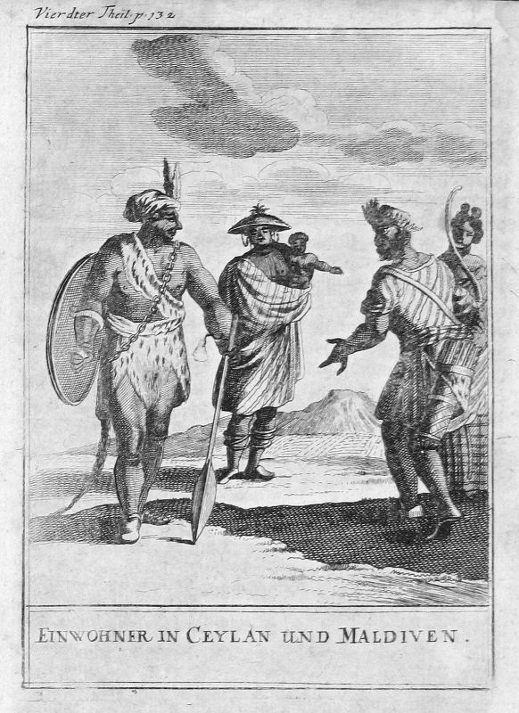 1697 Malediven Maldives Asien Asia Ceylon Sri Lanka Kostüme costumes Kupferstich