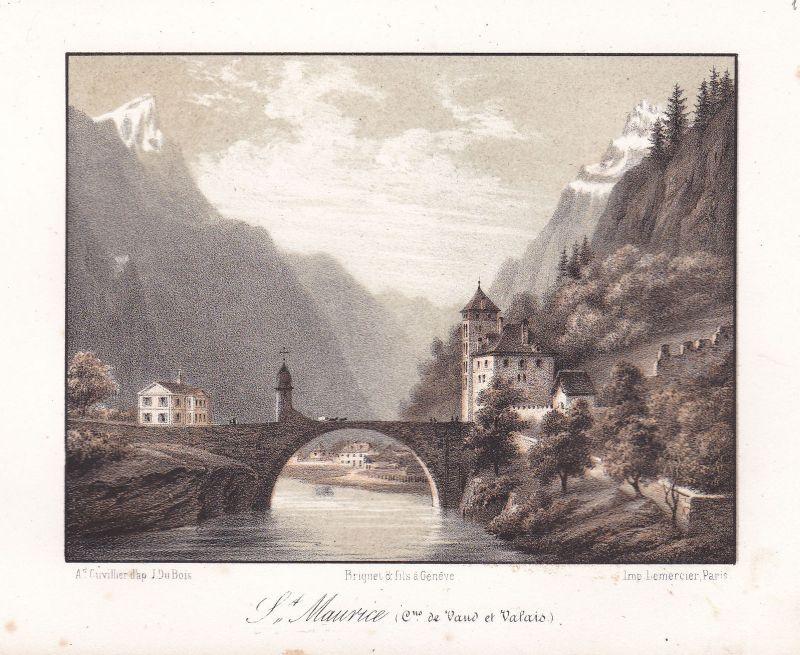 St. Maurice Valais Wallis Schweiz Suisse Ansicht vue Panorama 1840 Cuvillier