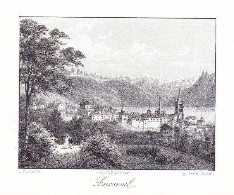 Lausanne Schweiz Suisse Ansicht vue Panorama 1840 Cuvillier Farblithographie 0