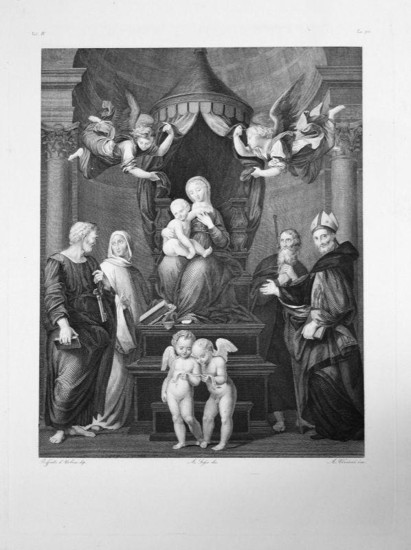 Raffaello Sanzio da Urbino La Madone au Baldaquin Radierung engraving gravure