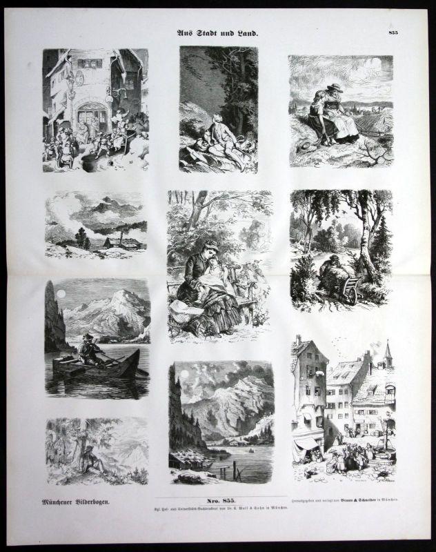 1900 Stadt und Land Brunnen Musiker Bäuerin Mutter Kind Münchener Bilderbogen
