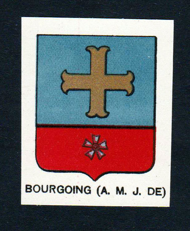 Ca. 1880 Bourgoing Wappen Adel coat of arms heraldry Lithographie antique 146077