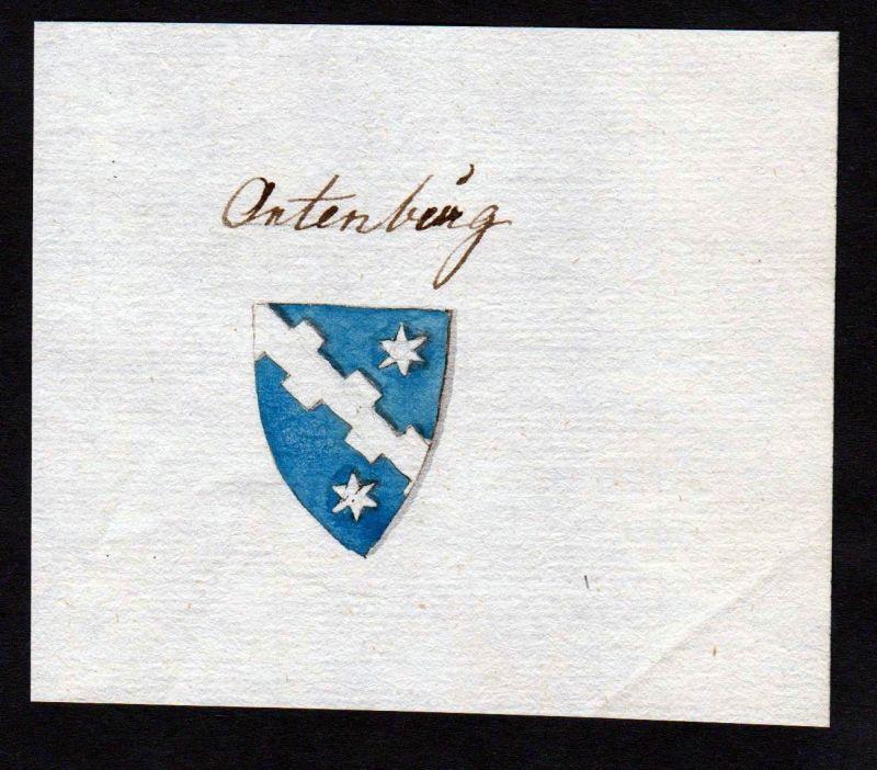 18. Jh. Ortenburg Adel Handschrift Manuskript Wappen manuscript coat of arms
