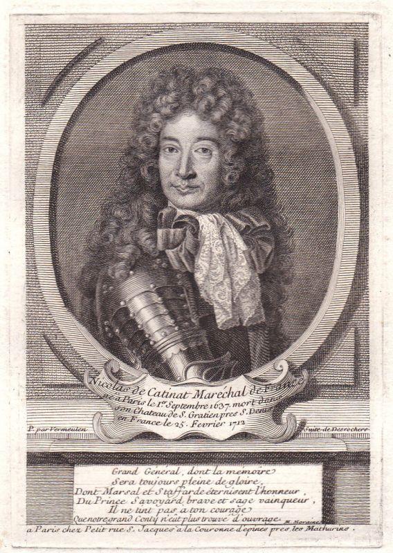 18. Jh. Nicolas de Catinat marechal Kupferstich gravure Portrait antique print