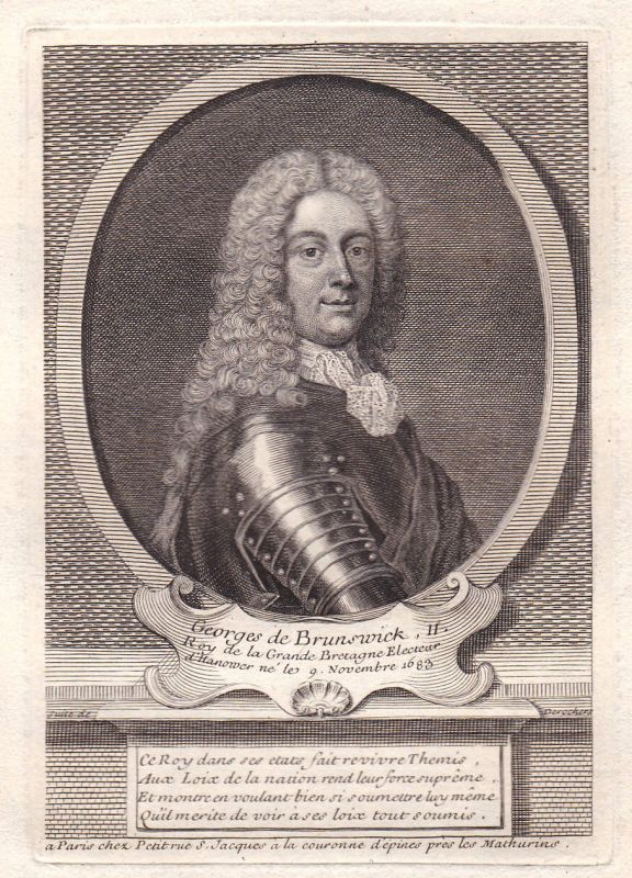 18. Jh. George II of Great Britain King König Kupferstich Portrait antique print