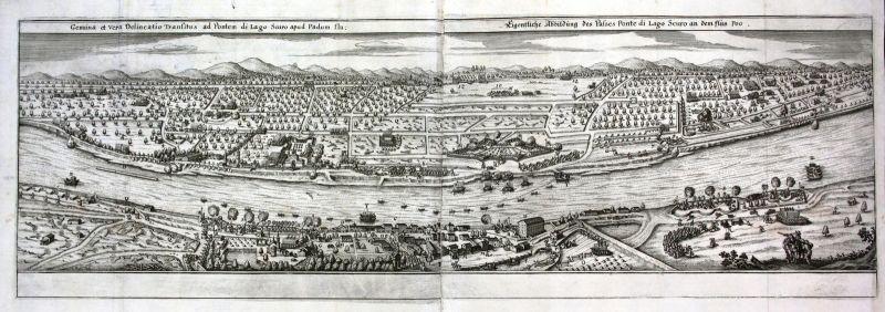 1650 Pontelagoscuro Ferrara Po Panorama view incisione Kupferstich antique print
