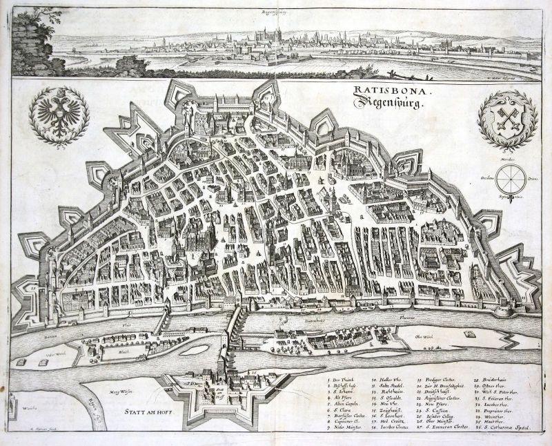 1705 Regesburg Bayern Ansicht Stadt view Donau Kupferstich antique print Merian