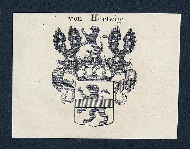 Ca. 1820 Hertwig Wappen Adel coat of arms Kupferstich antique print heraldry