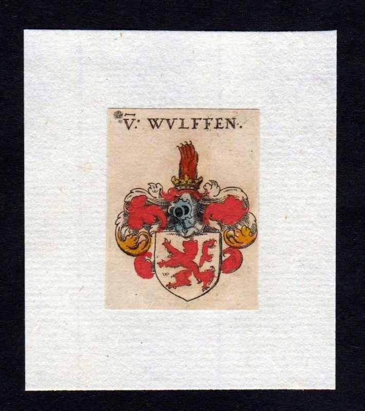 17. Jh Wulffen Wappen coat of arms heraldry Heraldik Kupferstich