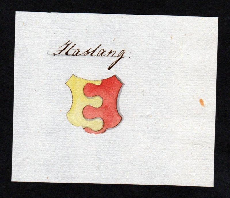 18. Jh. Haslang Adel Handschrift Manuskript Wappen manuscript coat of arms