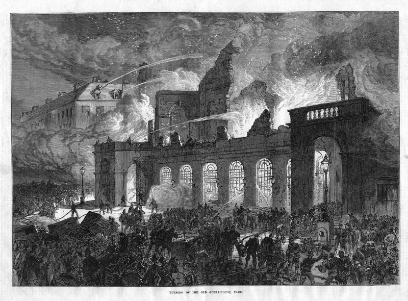Burning opera house Paris France Frankreich brennen Feuer fire antique print