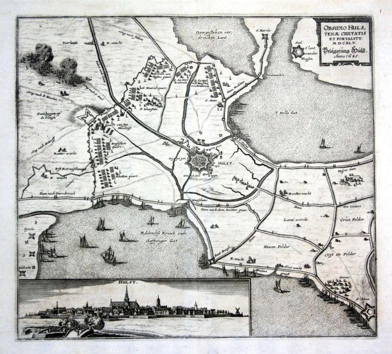 1650 Hulst Zeeland battle siege Karte map Plan Kupferstich antique print Merian