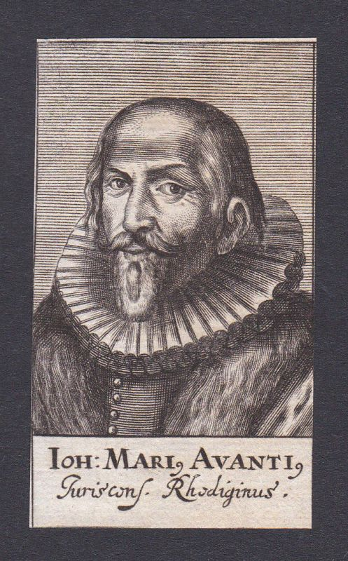 17. Jh. Girolamo Avanzi / humanist Humanist Verona Portrait Kupferstich