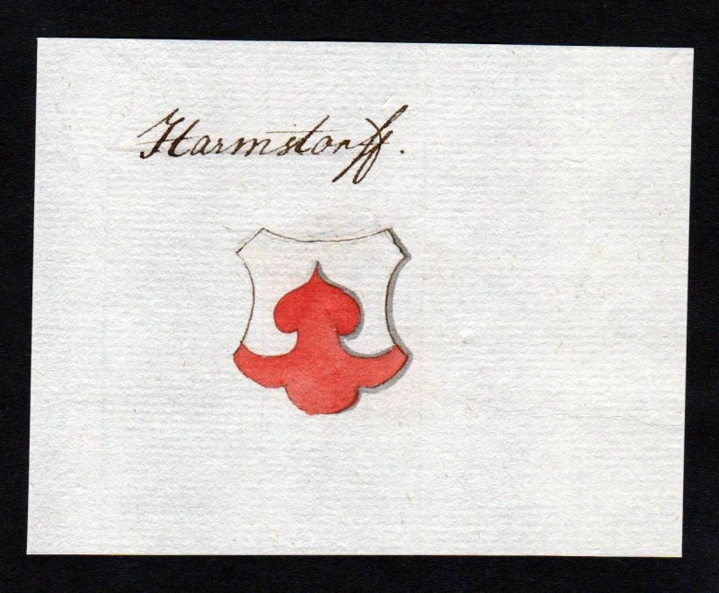 18. Jh. Harmstorf Handschrift Manuskript Wappen manuscript coat of arms