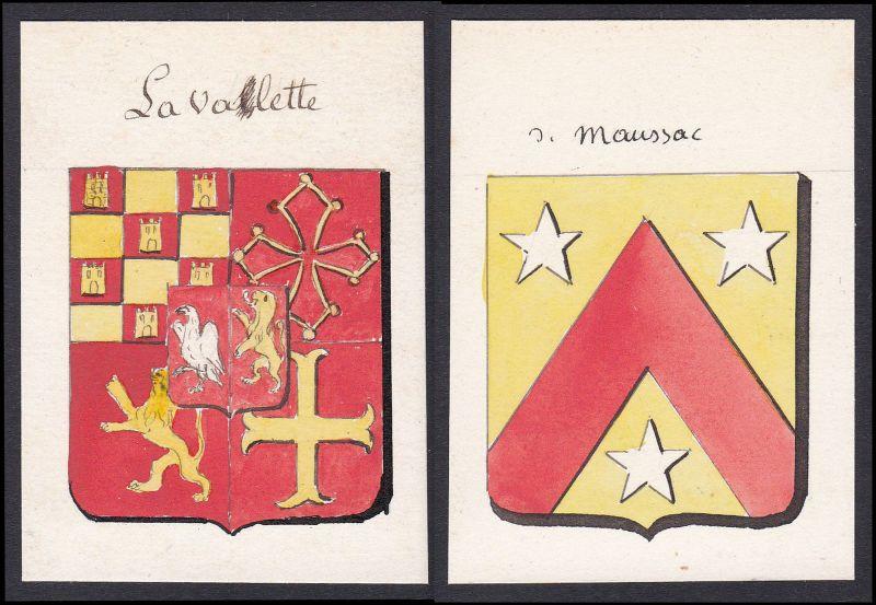19. Jh. la Valette de Maussac Frankreich France Wappen coat of arms Aquarell
