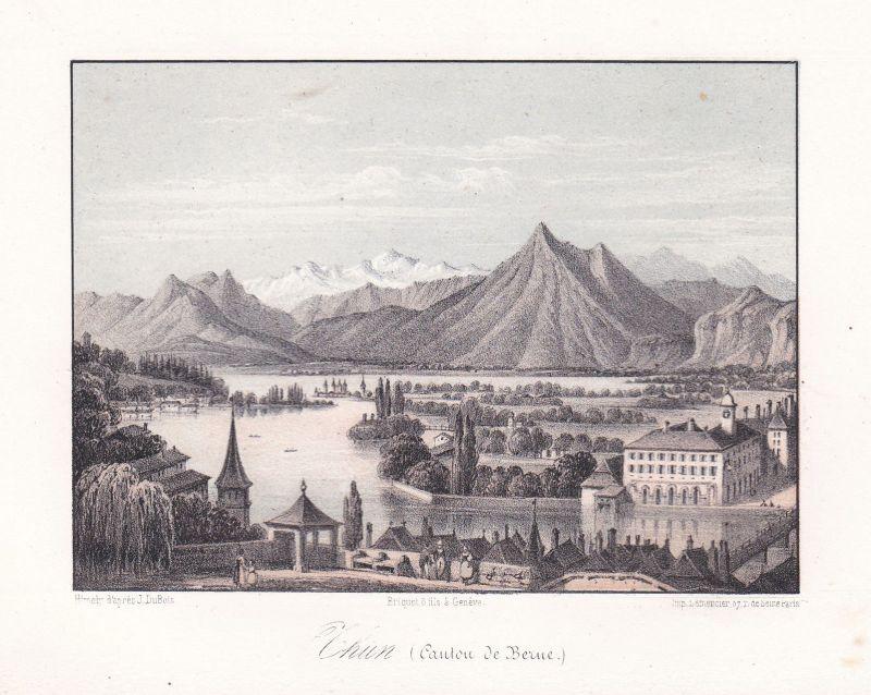 Chun Kanton Bern Berne Schweiz Suisse Ansicht vue Panorama 1840 Cuvillier