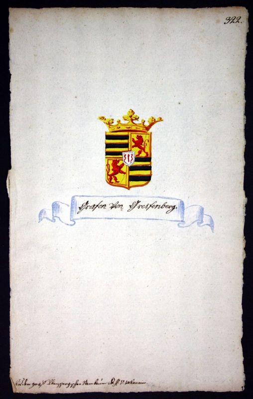 18. Jh. Greifenberg Manuskript Wappen Adel coat of arms heraldry Heraldik