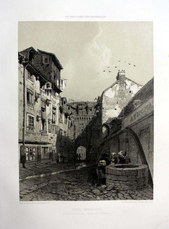 Ca. 1870 Porte Mordelaise Rennes Bretagne France estampe Lithographie lithograph