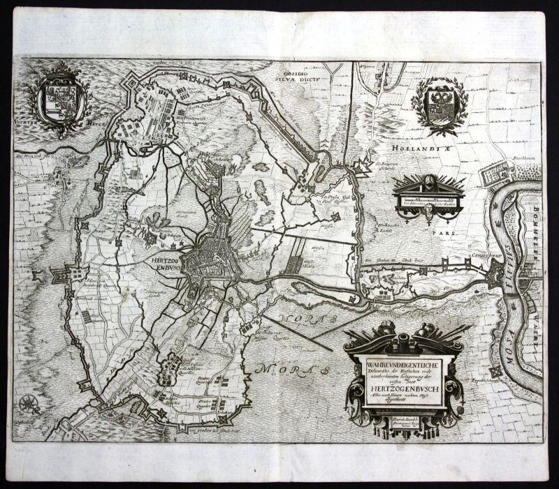 1679 's-Hertogenbosch Karte map Nederland Kupferstich antique print Merian