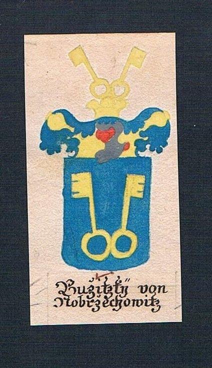 18. Jh. Buzitzky von Czechowitz Böhmen Manuskript Wappen Adel coat of arms 0