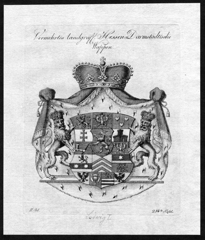 1790 - Hessen-Darmstadt Wappen Adel coat of arms heraldry Heraldik Kupferstich 0