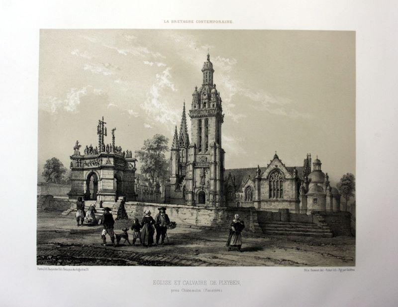 Ca. 1870 Pleyben eglise calvaire Bretagne France estampe Lithographie lithograph