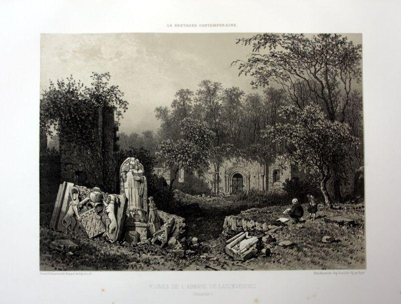 1870 Abbaye Saint-Guenole de Landevennec Bretagne France estampe Lithographie