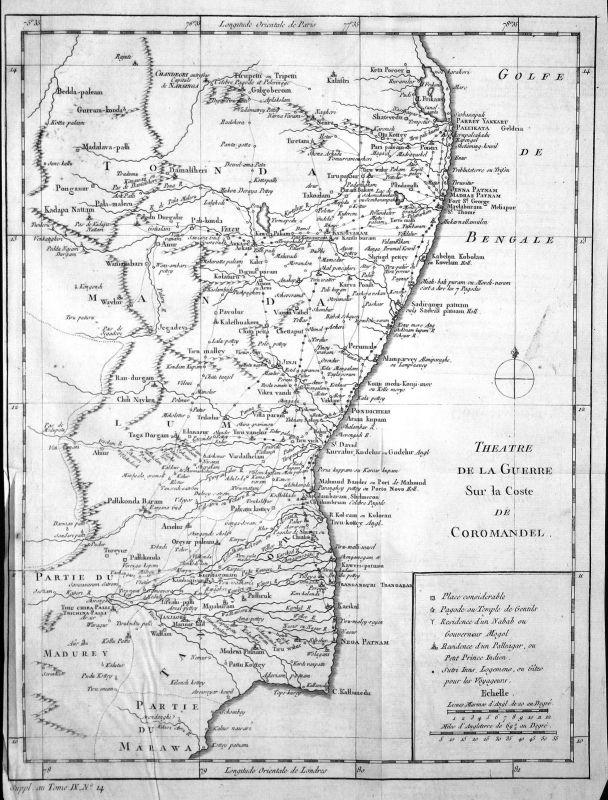 Koromandelküste Coromandel Coast Indien India Karte map Kupferstich Bellin 0