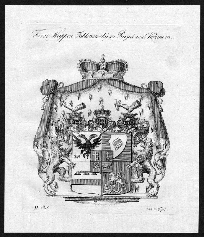 1790 - Jablonowski Wappen Adel coat of arms heraldry Heraldik Kupferstich