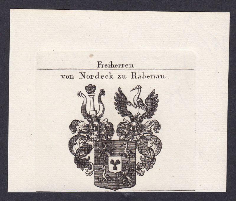 1820 Nordeck Rabenau Pfalz Hessen Wappen Adel coat of arms Kupferstich 0
