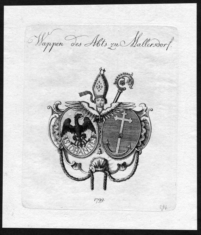 1790 - Mallersdorf Wappen Adel coat of arms heraldry Heraldik Kupferstich