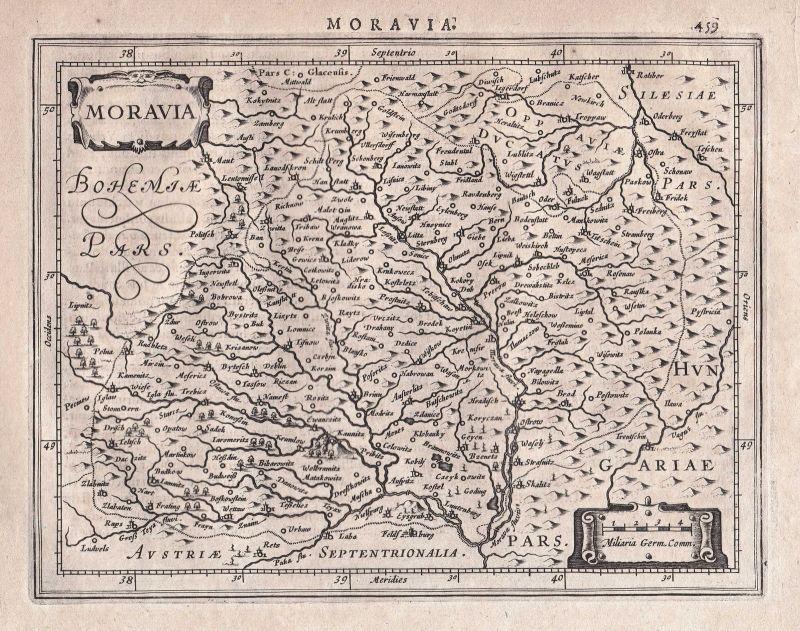 1628 Mähren Morava Moravia Olmütz Olomouc Tschechien Czech map Karte Mercator 0