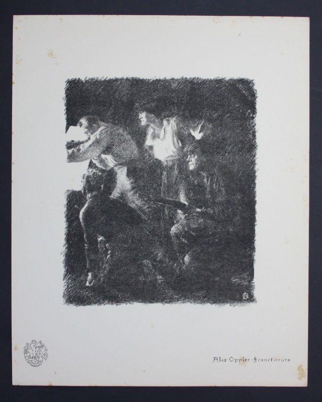 Alexander Oppler Freikorps Franctireur Weltkrieg Lithographie Berliner Secession
