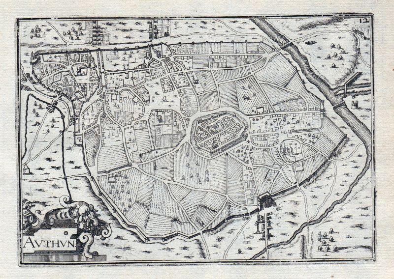 1630 Authun Aveyron Occitanie France gravure estampe Kupferstich Tassin