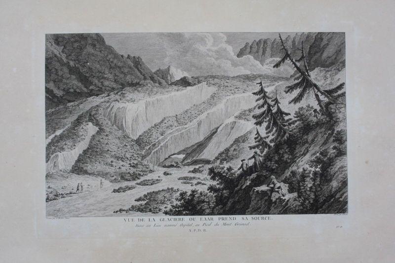 1780 - Aargletscher Aare Gletscher Alpen Kupferstich gravure Zurlauben 0