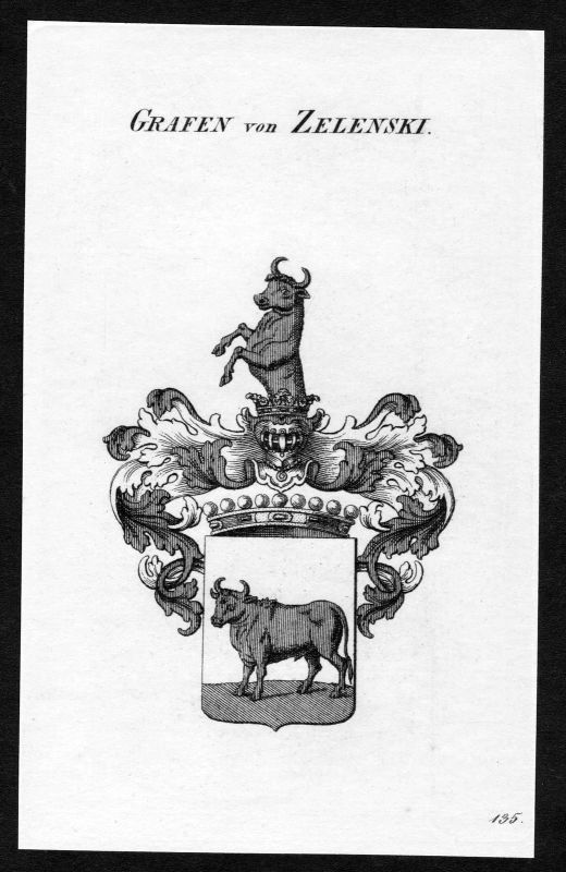 Ca. 1820 Zelenski Wappen Adel coat of arms Kupferstich antique print heraldry 0
