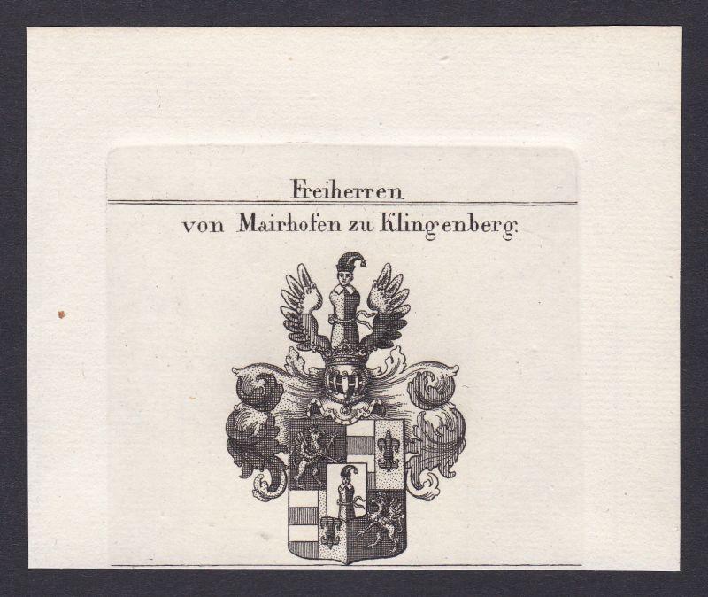 1820 Mairhofen Klingenberg Wappen Adel coat of arms Kupferstich antique print 0
